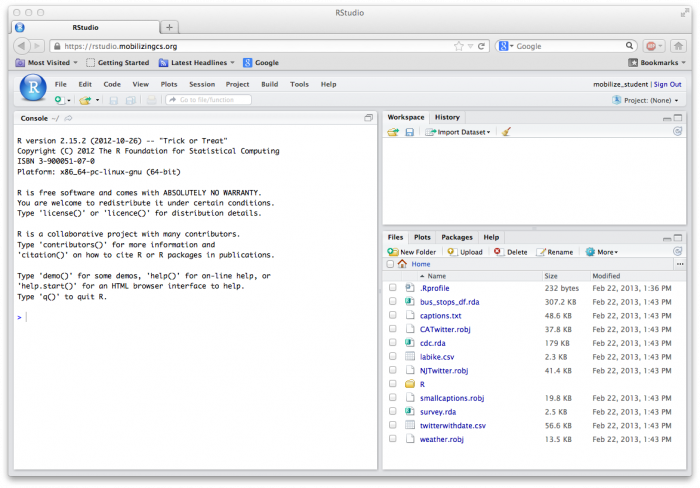 RStudio first screen